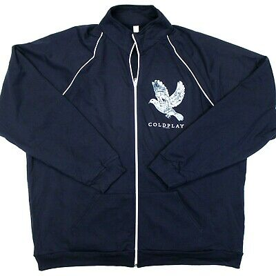 Coldplay Ghosts Stories 2014 Full-Zip Track Jacket Fleece Lined Navy Blue - XXL • 31.92£