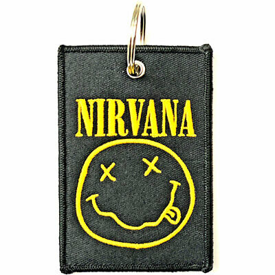 NIRVANA SMILEY  Official Fabric Keyring NEW  • 6.99£