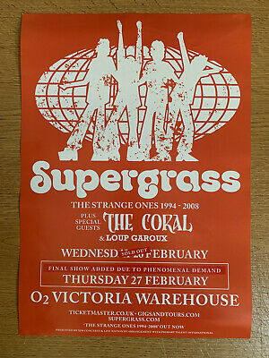 SUPERGRASS + The Coral Manchester Victoria Warehouse 27.2.20 Gig A3 Promo Poster • 6.99£