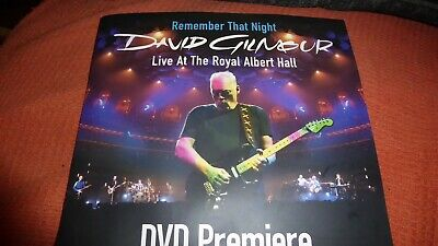 David Gilmour - Remember That Night Programme For Cinema Premiere, Pink Floyd. • 12£