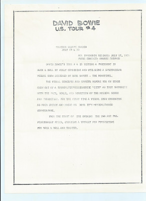 David Bowie 1974 Press Release For Madison Square Garden • 20£