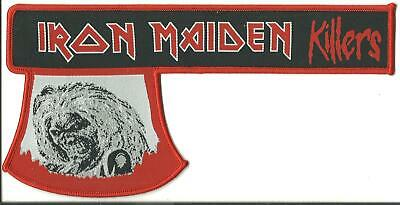 IRON MAIDEN Killers - WOVEN AXE STRIP SHAPED SEW/IRON ON PATCH - RARE • 6.99£