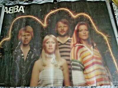 Vintage Abba Poster Large 38  Inch X 27 Inch Casual   Group Pic Free P+p • 20£