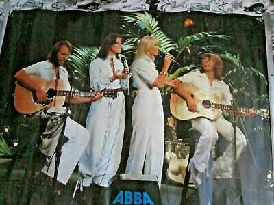 Vintage Abba Poster Large 36  Inch X 27  Singing On Stage  Pic  Free P+p • 20£