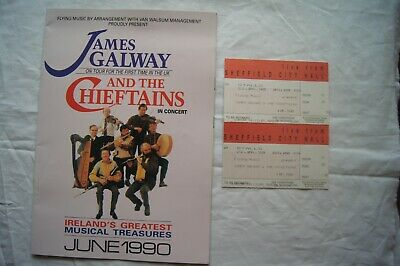 JAMES GALWAY And The Chieftains Sheffield City Hall Programme & Tickets 1990 • 1.49£