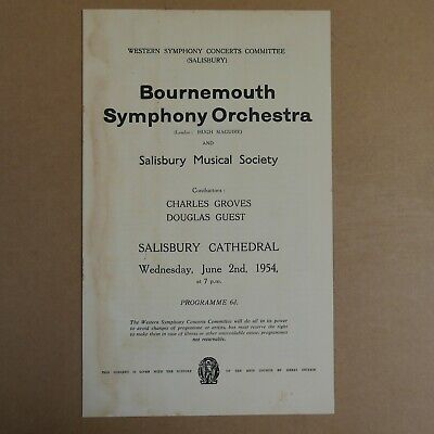 Concert Programme BOURNEMOUTH SYMPHONY ORCHESTRA 1954 Charles Groves • 10£