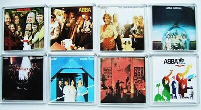 ABBA SET OF 8 SQUARE ALBUM COVER FRIDGE MAGNETS Acrylic 2.6inch (64mm)  • 9.99£
