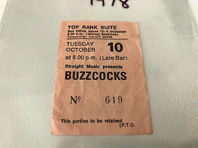 Buzzcocks Original Ticket Stub Cardiff 1978 In Ex Condition - In Stock From UK • 39.95£
