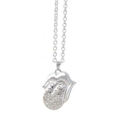 ROLLING STONES Crystal  Tongue Pendant Necklace • 12.99£