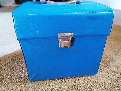 "Retro Blue Vintage Recod Vinyl Carry Case Storage Box For 7"" 45 Rpm Records • 15£"