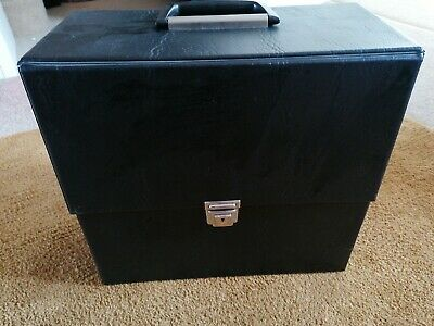 60s 70s VINTAGE RECORD STORAGE / CARRY CASE FOR LP RECORDS BLACK VINYL RETRO 12  • 16.50£