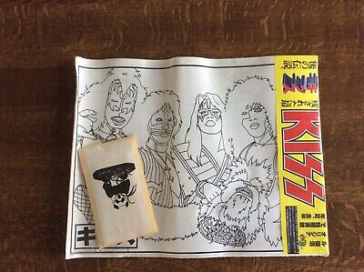 Kiss Gene Simmons Paul Stanley Vintage Colouring Posters Japan 1997 • 10£