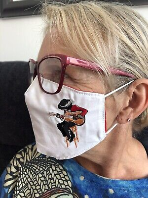 Jimi Hendrix Style Face Mask 100% Cotton Double Layer With Opening For Filter • 10£