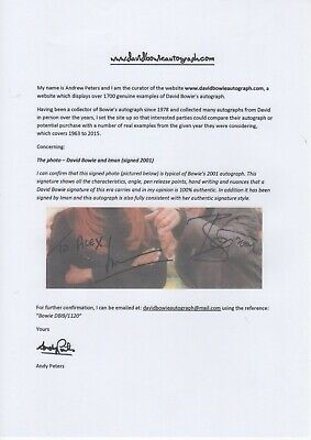 David Bowie & Wife -  SIGNED PHOTO - L@@K / COA Autographed RARE 2001 Year W@W • 239£