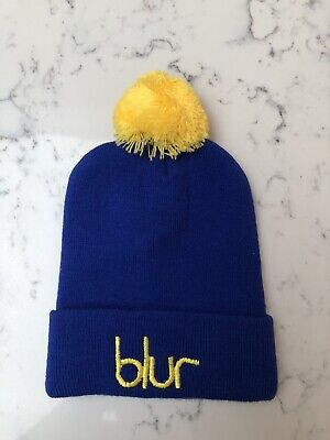 Blur 13 Electric Blue Beanie Hat With Yellow Pompom • 10£