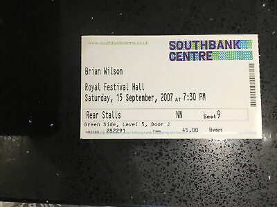 BRIAN WILSON Used Ticket Stub 15/09/2007 South Bank Centre Royal Festival Hall • 2.99£
