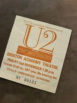 U2 Unforgettable Fire Tour Concert Ticket Brixton Academy Waterboys Low No. 103 • 49.95£