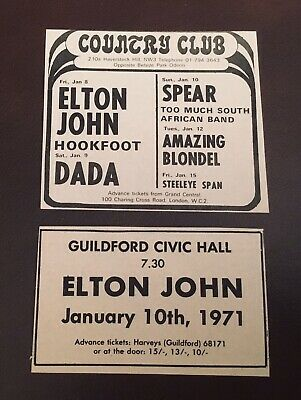 Rare ELTON JOHN 1971 Concert Adverts X 2 - Country Club NW3 / Guildford • 6.99£
