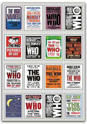 The Who A Fabulous Collection Of 1960's Concert Posters Pete Townshend 3 Sizes • 7.95£