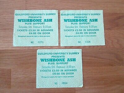 3 X WISHBONE ASH - CONCERT TICKETS - GUILDFORD UNIVERSITY - 6th FEBRUARY 1981 • 4.99£