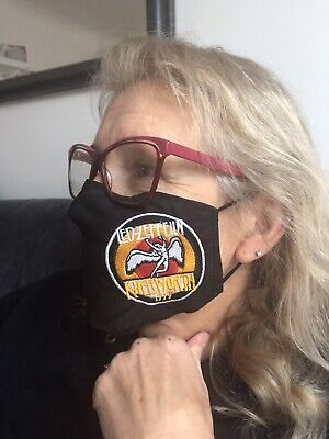 Led Zeppelin Style Face Mask 100% Cotton Double Layer With Opening For Filter • 10£