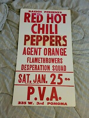 Red Hot Chili Peppers Early Rare Originalcardboard Boxing Style Concert Poster • 907.92£