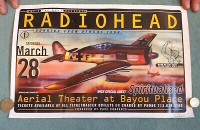 Radiohead Concert Poster Running From Demons Tour 1998 Signed By Uncle Charlie • 29.99£
