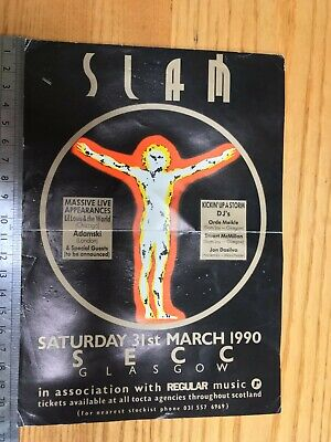 Slam Rave Flyer – SECC Glasgow 31 March 1990 – Slam & Hacienda DJs, Adamski • 9.50£