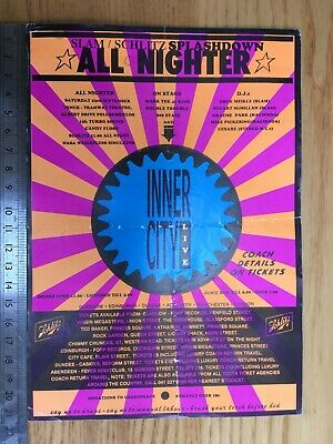 Slam All Nighter Rave Flyer – Glasgow 23 Sept 1989 – Inner City, Hacienda DJs • 8.50£