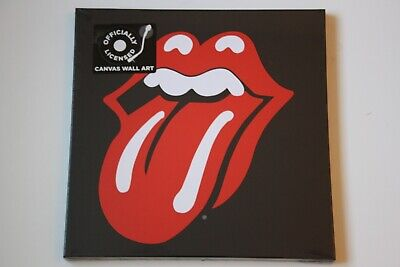 ROLLING STONES Iconic Tongue Logo SEALED Official Canvas Wall Art UNUSED • 0.99£