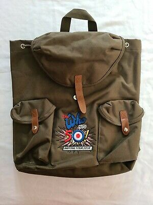 The Who Hits 50 British VIP Tour Backpack Rucksack Olive Green  • 44£