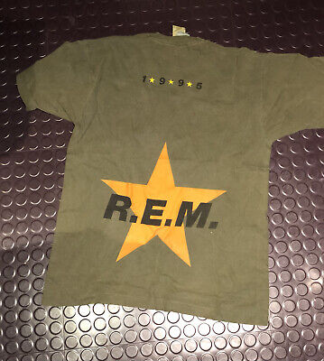 REM Monster 1995 UK Tour T Shirt - Size L - Khaki Black Star Genuine Vintage VGC • 1£