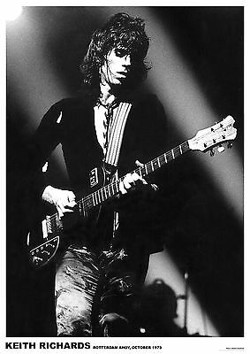 Keith Richards (Rolling Stones)- Rotterdam Ahoy, 1973  -   33  X 24   B&W POSTER • 6.99£
