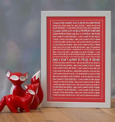 Aerosmith 'Don't Want To Miss A Thing' Personalised Song Lyrics Framed Print • 29.90£