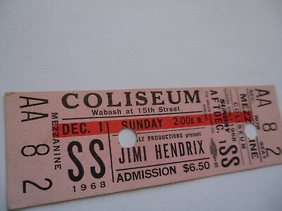JIMI HENDRIX__1968__Original__**UNUSED**__CONCERT TICKET Chicago Coliseum__EX(+) • 895.81£