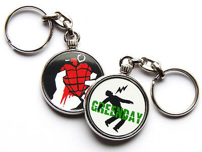GREEN DAY American Rock Band Chrome Keyring Picture Both Sides • 5.49£
