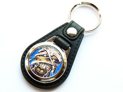 EDDIE THE MUMMY IRON MAIDEN Heavy Metal Band Quality Leather And Chrome Keyring • 5.99£
