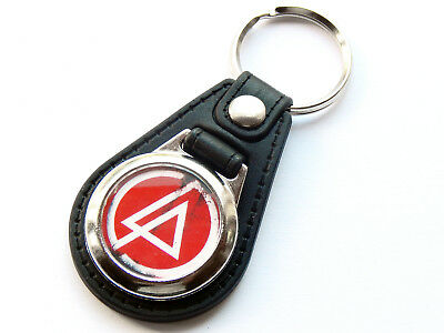 LINKIN PARK Red Design Rap Rock Band Quality Leather And Chrome Keyring • 5.99£