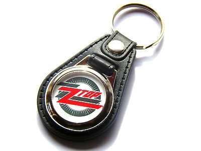 ZZ TOP Classic Rock Band Quality Leather And Chrome Keyring • 5.99£