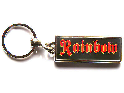 RAINBOW Classic Rock Band Large Chrome Keyring Picture Both Sides • 4.99£