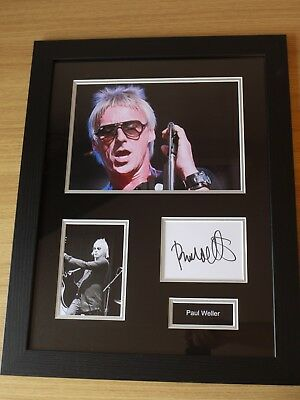 Mounted & Framed Genuine Paul Weller Signed Card & Photo Display - C.O.A. • 200£