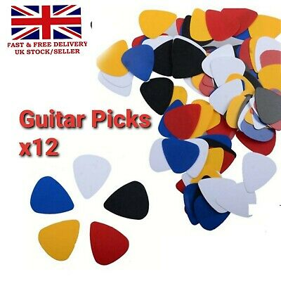 12x Modern Thin Celluloid Guitar Picks Plectrums Electric Acoustic & Bass • 3.95£