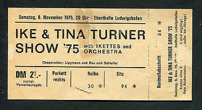 1975 Ike & Tina Turner Unused Concert Ticket Eberthalle Ludwigshafen Germany • 46.02£