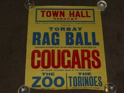 Cougars 1963 Torquay Concert Poster (Incomplete)  • 6£