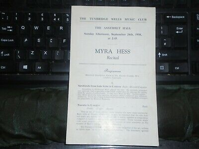 1950 Tunbridge Wells Music Club, Myra Hess, 4 Page Programme • 7£