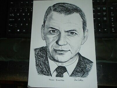C1990 Frank Sinatra, Charcoal And Pencil Sketch, By Dan Collison, Print • 8£