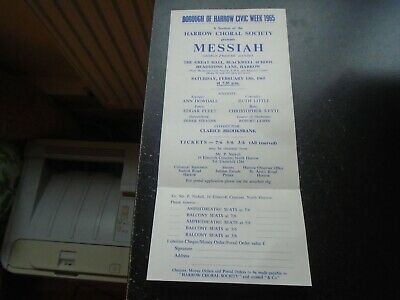 1965 Harrow Choral Society, Blackwell School, Headstone Lane, Messiah, Handel • 8£