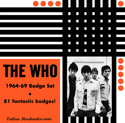 The Who 1964-69 Badge Set Collection - 81 Quality Button Badges (60s Rock) • 40£