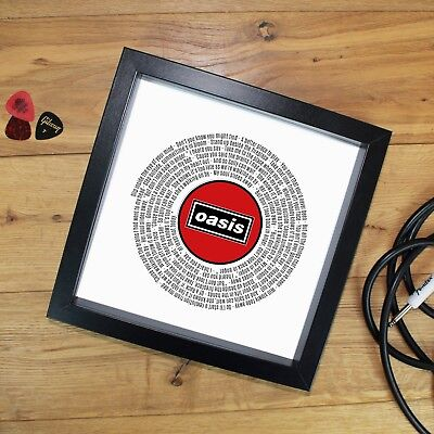 Oasis Fan Gift Vinyl Record Designed Print Or Fully Framed 7 Or 12 Inch ANY SONG • 27.90£