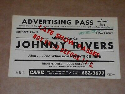 Johnny Rivers Late 1960s Cave Theatre Restaurant, Vancouver Concert Ticket • 18£